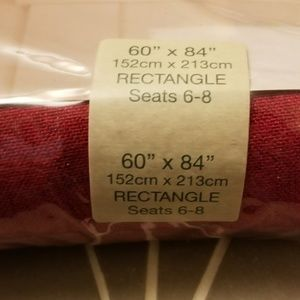 "Bardwil Linens Dining - NWT dark red woven tablecloth 60"" X 84"""